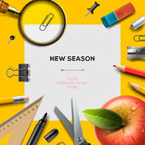 New school season template with office supplies. New school season invitation template with office supplies, back to school background,  Eps10 illustration Royalty Free Stock Photos