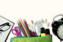 New school supplies and clock Royalty Free Stock Photography
