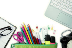 New school supplies with laptop Royalty Free Stock Photos