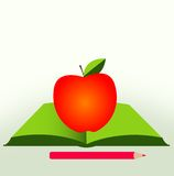 New school year. A book with an apple and a pencil Stock Photography