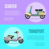 New scooter flyers with classic city mopeds. Personal mobility and transportation, urban compact motorcycle. Motorbike shop advertising campaign, discound Royalty Free Stock Photography