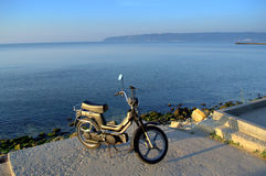 New scooter on the seashore Royalty Free Stock Photography