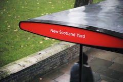 New Scotland Yard bus stop. In London, England, UK. Dec. 2014 Stock Photos