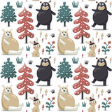 New seamless cute winter christmas pattern made with bears, rabbit, mushroom, bushes, plants, snow, trees Stock Image