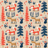 New seamless cute winter christmas pattern made with fox, rabbit, mushroom, bushes, plants, snow, tree Royalty Free Stock Photo