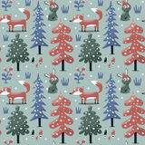 New seamless winter christmas pattern fox, rabbit, mushroom, plants, snow, tree Royalty Free Stock Images