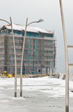 New seaside hotel under construction. Winter image of a new luxurious hotel being constructed at the port entrance. Location - Darlowo, Poland Stock Image