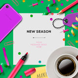 New season template with office supplies Stock Photo