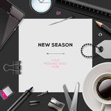 New season template with office supplies Royalty Free Stock Image