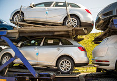 New SEAT cars being transported on a trailer Stock Photo