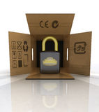 New security padlock advertise in carton box Stock Image