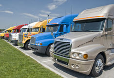 New trucks parked. New semi trucks parked, waiting for the first ride royalty free stock images