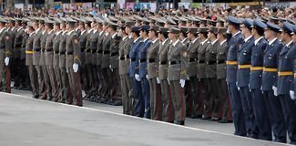 New Serbian officers on parade Stock Photos