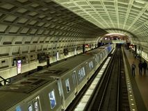 New 7000 series metro car rolls in to Dupont Circle station WMATA royalty free stock images