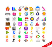 New Set with 56 colorful icons. On the business Royalty Free Stock Photography
