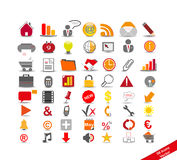 New set with 56 icons. On the business, red and orange stock illustration