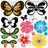 New set butterflies and flowers Stock Photography