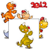 New set of dragons. In 2012 on the Chinese calendar vector illustration