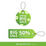New set spring sale labels with a rope for promotions Stock Photo