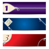 New set of zipper banners Royalty Free Stock Images