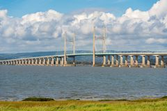 The new Severn Bridge taken from the Aust, Gloucestershire side royalty free stock photography