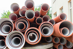 New sewer pipes Royalty Free Stock Photos