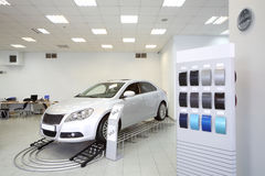 New shine car stands in office of shop selling cars Royalty Free Stock Images