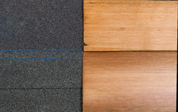 New shingles of composite and cedar wood side by side to compare Royalty Free Stock Photography