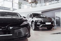 New shining beautiful cars stand near desk reception in car shop.  Stock Photography
