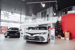 New shining beautiful cars stand near desk reception in car shop.  Royalty Free Stock Images