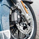 New shiny brake discs on motorcycle Stock Photo