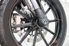 New shiny brake discs on motorcycle Royalty Free Stock Image