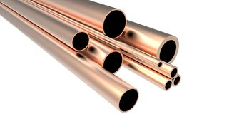 New shiny copper metal. New shiny metal pipe stock Stock Image