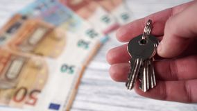 New shiny house keys on a background of heaps of euro banknotes on a white wooden table