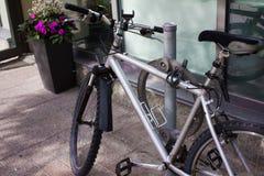 New Silver Bike in Toronto stock photos