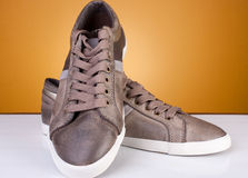 New shoes. Brand new leather casual shoes. Studio shot. Artistic selective focus Stock Photo