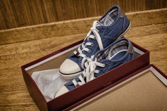 New shoes in box Stock Photos