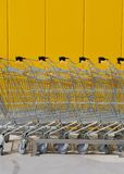 New shopping carts in a market stock image