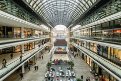 The new shopping center Mall of Berlin. BERLIN - NOVEMBER 30, 2015: The new shopping center Mall of Berlin at Potsdamer Platz. HDRi Royalty Free Stock Photography
