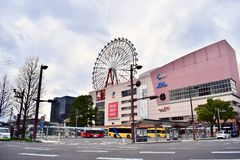 Japan Kagoshima Shopping center in cloudy day stock images