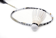 New shuttlecock and racket isolated Stock Photo