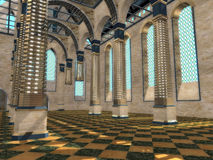 New sight at a medieval interior. Modern design of an ancient convent interior Stock Photo