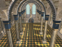 New sight at a medieval interior. Modern design of an ancient convent interior Stock Image