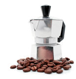 New silver coffee-pot with coffee corns Stock Images