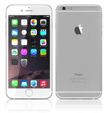 New Silver iPhone 6 Plus. Apple Silver iPhone 6 Plus showing the home screen with iOS 8 and view back of iPhone.The new iPhone with higher-resolution 4.7 and 5.5 Stock Image