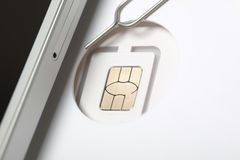 New sim card format nano micro and standard. Sim card format nano micro and standard Stock Photos