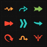 9 new simple arrows. This is a vector illustration of 9 new simple arrows stock illustration