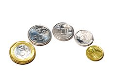 New Singapore Coins. All the new Singapore coins of the third series. New top sided designs Stock Image