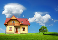 New single family home. In Europe. Residential architecture Royalty Free Stock Images