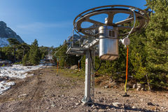 New ski lift in mountains at Haut Asco in Corsica Royalty Free Stock Photography